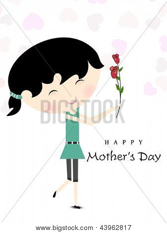 Cute little girl holding flowers on Happy Mother Day occasions.