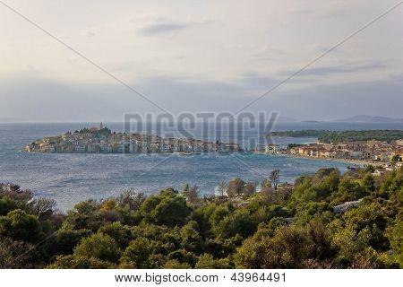 Adriatic town of Primosten peninsula panorama, Dalmatia, Croatia poster