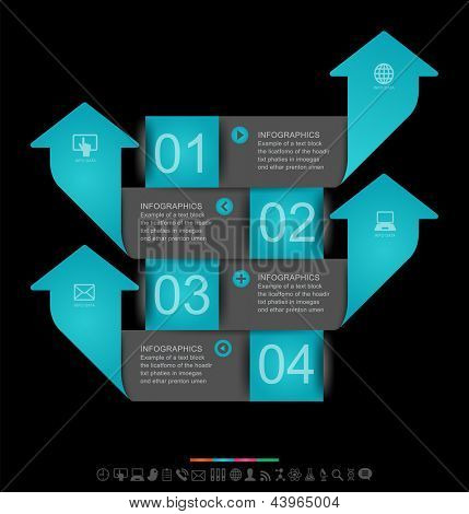 Abstract infographics design with paper numbered labels - vector illustration. This work - eps10 vector file, contain transparent elements and mesh gradients
