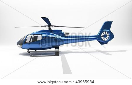 Modern blue helicopter on a light background