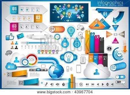 Elementos de la infografía - conjunto de etiquetas de papel, los iconos de la tecnología, nube cmputing, gráficos, etiquetas de papel, arro