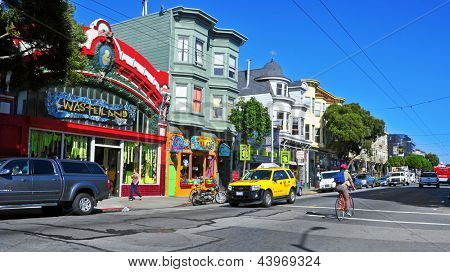 SAN FRANCISCO, US - OCTOBER, 19: Colorful stores in Haight Street on October 19, 2011 in San Francisco. Haight Street is the main street of famous Haight-Ashbury District, with its bohemian ambiance