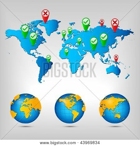 World With Map Pin