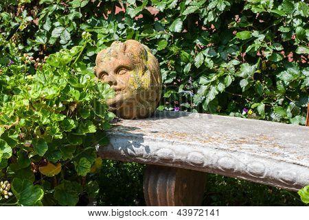 Stone Head In Garden