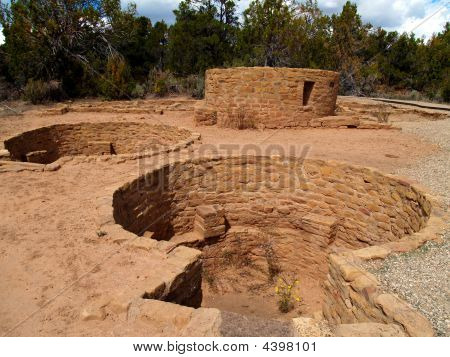 Ruins of Far View House in Mesa Verde National Park Colorado. poster
