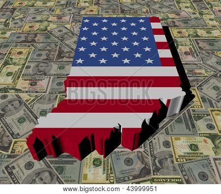 Indiana Map flag on American dollars illustration