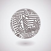 vector simple circuit board  globe background for logo or icon poster