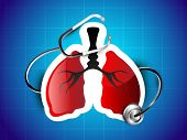 World asthma day background with lungs and stethoscope. poster