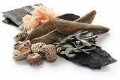japanese umami taste, ingredients of dashi(japanese soup stock), katsuobushi,kombu,niboshi and hoshi shiitake poster