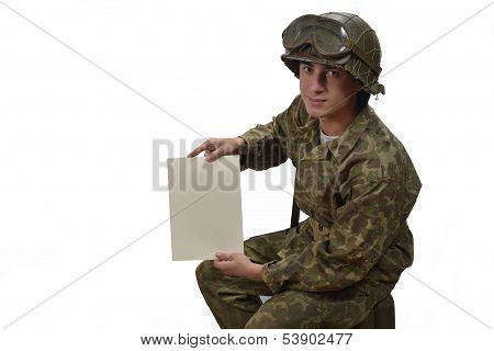 Young American Soldier Shows A Letter