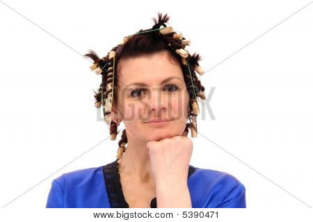 Woman In Curlers