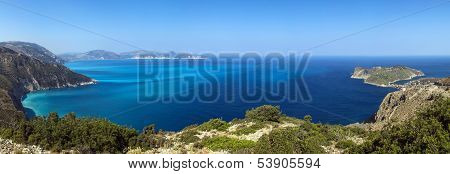 Panoramic View Of Shores Of Island Kefalonia In The Ionian Sea, Greece