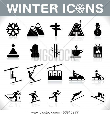 Winter Icons Set - Vector