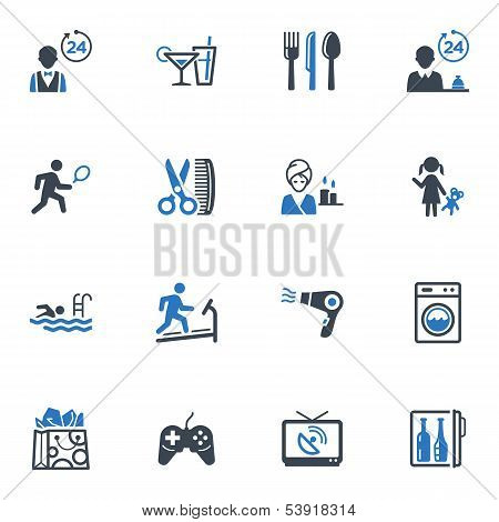 Hotel Services and Facilities Icons Set 2 - Blue Series