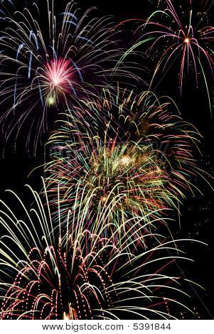 Holiday celebration of a colorful fireworks display. poster