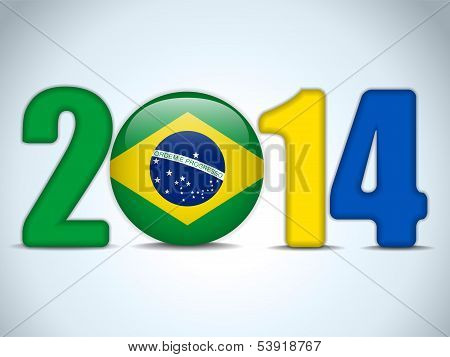 Brazil 2014 Soccer With Brazilian Flag