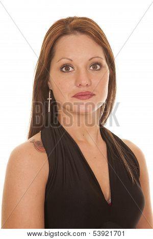 Woman Black Dress Tattoo Shoulder Serious