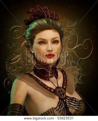 Steampunk Fashion Lady 3D Cg