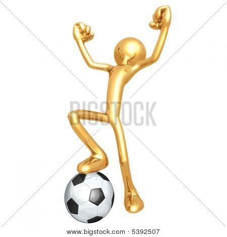 3D Vector Gold Guy Soccer Football