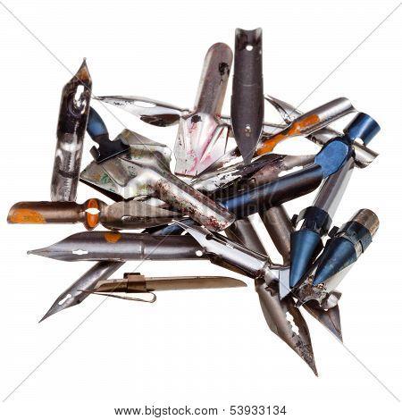 Heap Of Used Metal Drawing Pens