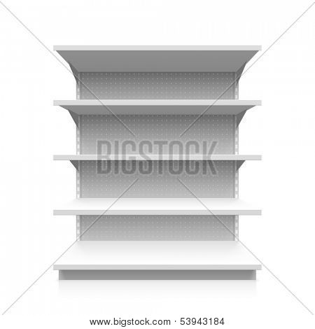 Empty supermarket shelves. Vector.