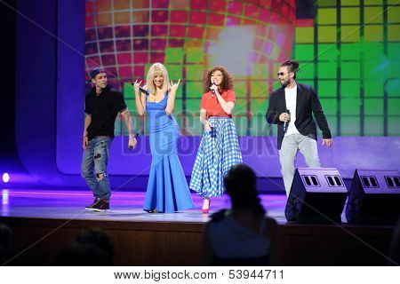 MOSCOW - JUN 23: Group Banderos on stage of State Kremlin Palace on Graduate of 2013 on June 23, 2013 in Moscow, Russia.