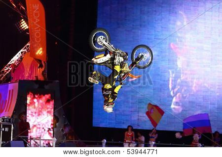 MOSCOW - MAR 02: Somersault on a motorcycle on the festival extreme sports Breakthrough 2013 in the arena of the Sports Complex, on March 02, 2013 in Moscow, Russia.