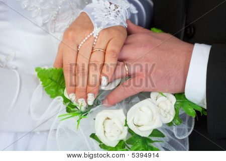Hands Of A Newly-married Couple With Wedding Rings
