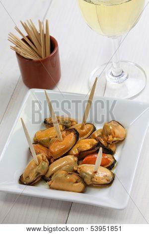 mejillones en escabeche, marinated mussels, spanish cuisine poster