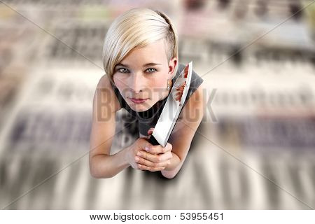 Woman  With Knife On Newspapers