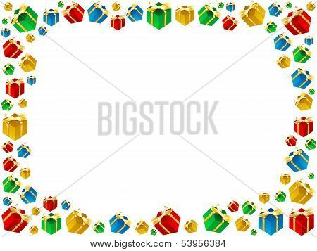Xmas Gifts Framework Isolated On White Background