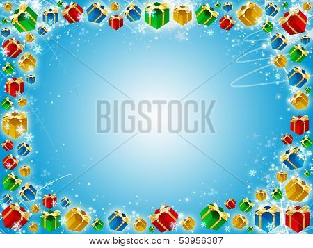 Xmas Gifts Blue Background With Snowflake