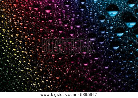 macro of colorful water drops
