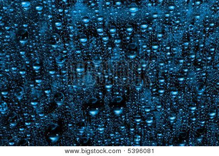 macro of blue water drops