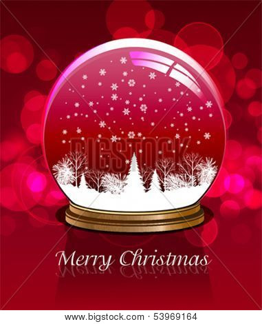 Vector snow globe. This illustration is an EPS10 file and contains several transparencies blend which its easily editable in separate layers. Vector illustration scale to any size.