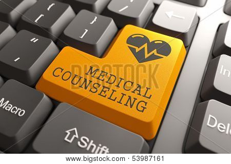 Keyboard with Medical Counceling Orange Button.
