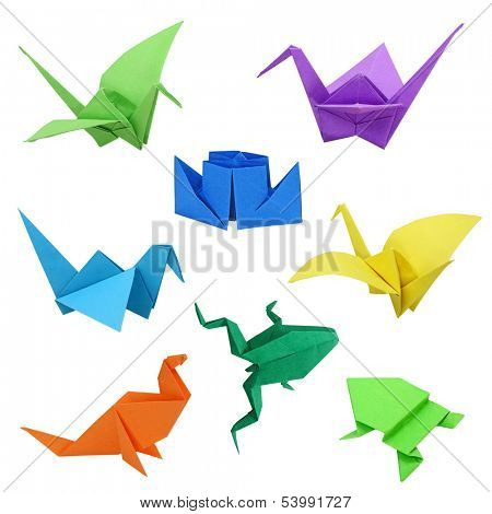 Japanese traditional origami images on white