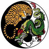 dragon and tiger yin yang symbol of harmony and balance poster