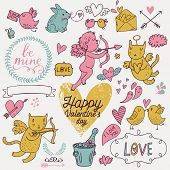 Valentines Day cartoon vector set in romantic colors. Cute Cupids, cat, rabbit, birds, champagne, envelopes, hearts and other design elements poster