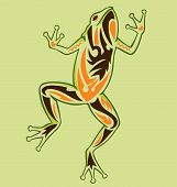 A frog standing up illustrated with tattoo style poster