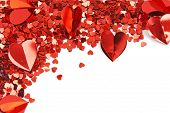 Red hearts confetti on white background poster