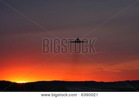 Jet Airplane Sunset Takeoff