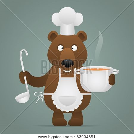 Lunchtime bear holds pan and ladle