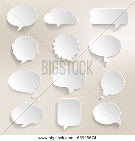 Collection of speech bubbles with a 3D effect.
