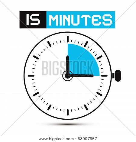 Fifteen Minutes Stop Watch - Clock Vector Illustration