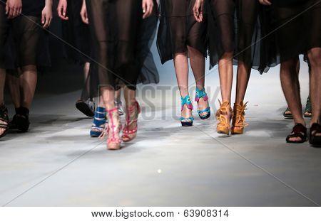 ZAGREB, CROATIA - APRIL 11 : Fashion model wears shoes made by Ivan Ledenko on