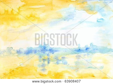 Watercolor Landscape Yellow And Blue