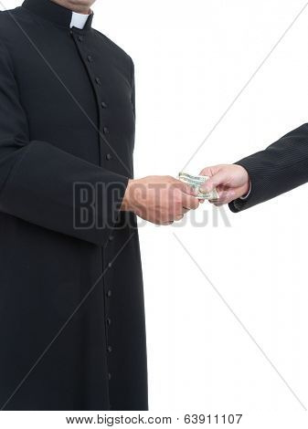 Catholic priest receiving bribe from businessman