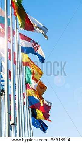 Eu Member Flags In Front Of European Prliament
