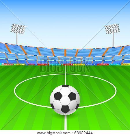Soccer ball on stadium